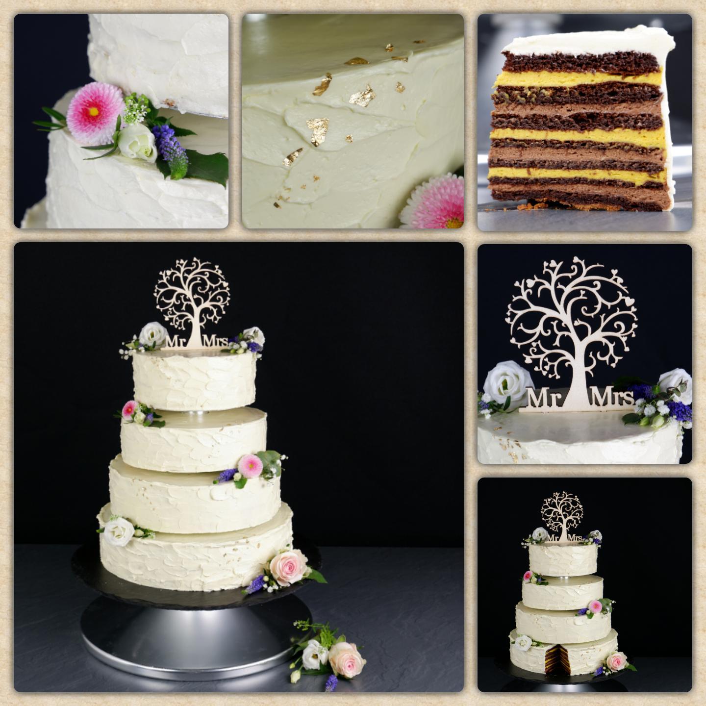 Buttercreme Torte mit Blumen, Blattgold und unruhiger Struktur