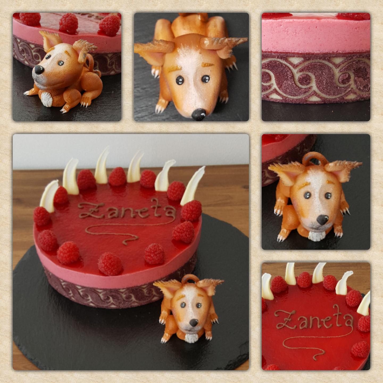 Geburtstagstorte auf Sahnebasis mit einem Fruchtspiegel und handmodelliertem Marzipanhund