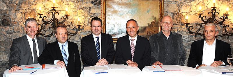 Dezember 2012 Regierungschefkandidaten Pepo Frick, Adrian Hasler und Thomas Zwiefelhofer zu Besuch beim LPC