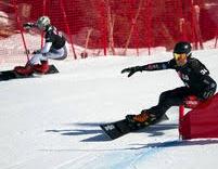 Snowboard Slalom Géant parallèle - course entre 2 concurrents (sce : Dreamstime.com)