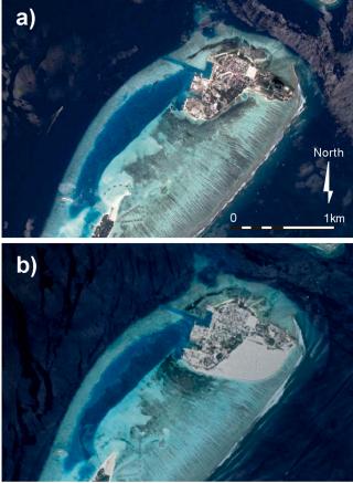 Figura 1. Foto satellitare dell'isola di Himmafushi prima (a) e dopo (b) l'espansione del suolo edibile.  Foto da ©Google Earth.