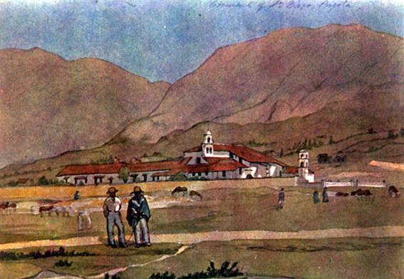 Iglesia y recoleta de San Diego Edward Mark Walhouse. Acuarela de Edward Mark Walhouse en Colombia, 1843-1856.