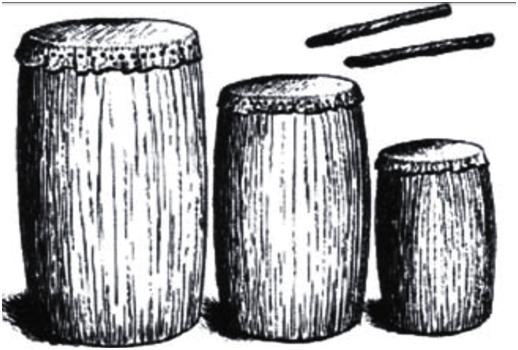 Tambores originarios. Fuente: http://www.nolanwarden.com/Conga_Drum_History(Warden).pdf