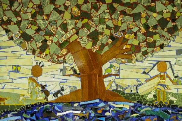 Mural mosaico elaborado con retal de baldos y vidrio