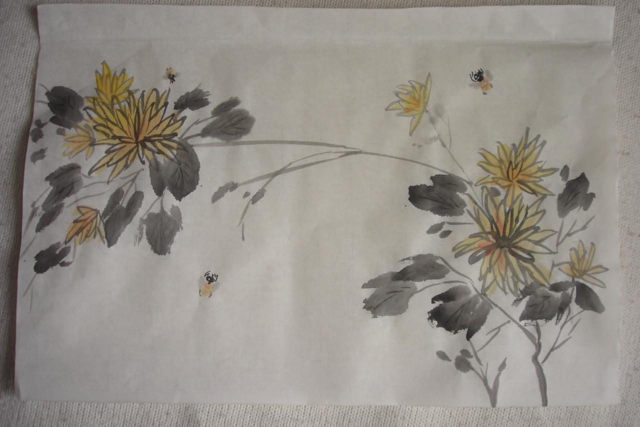 Хризантемы. Рисовая бумага, тушь