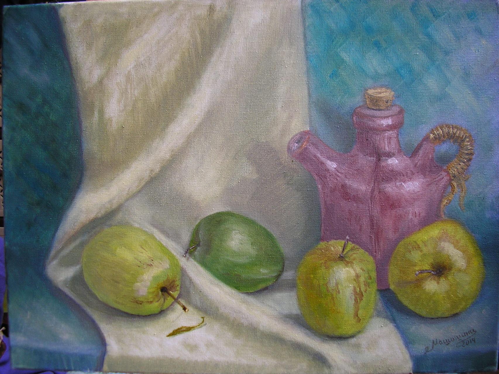 Натюрморт с яблоками, х/м