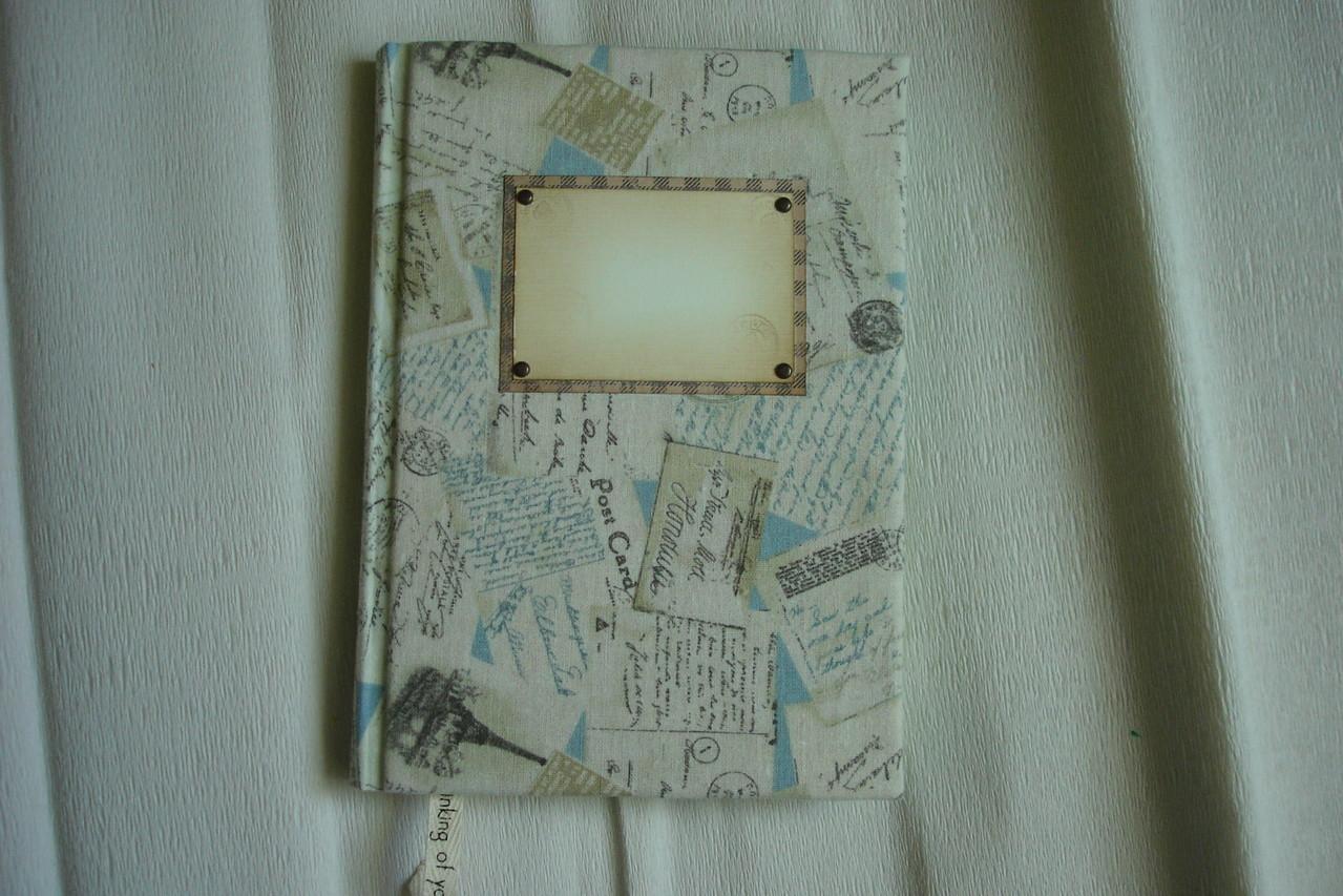 """Письма другу"", А5, обложка-лен, скрап бумага, метал.декор"