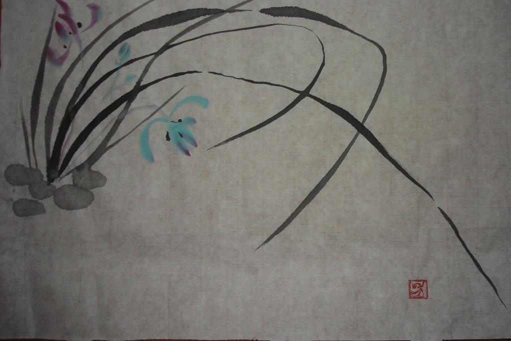 Китайская орхидея. Рисовая бумага, тушь