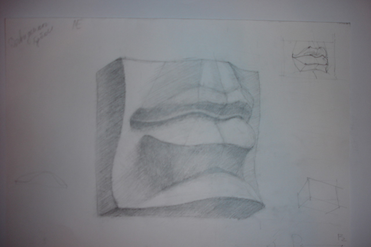 Губы Давида. Карандаш, бумага (курс портрета,учебная работа)