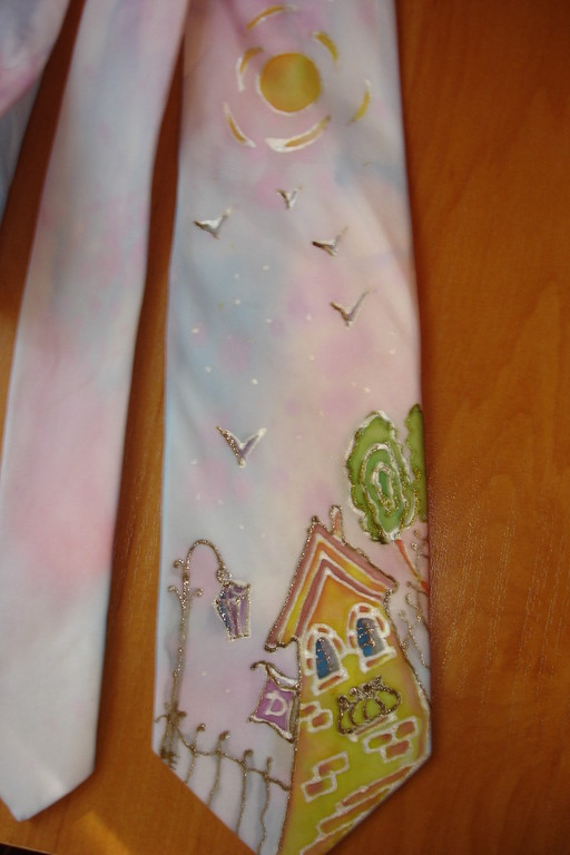 Шелковый галстук. Холодный батик