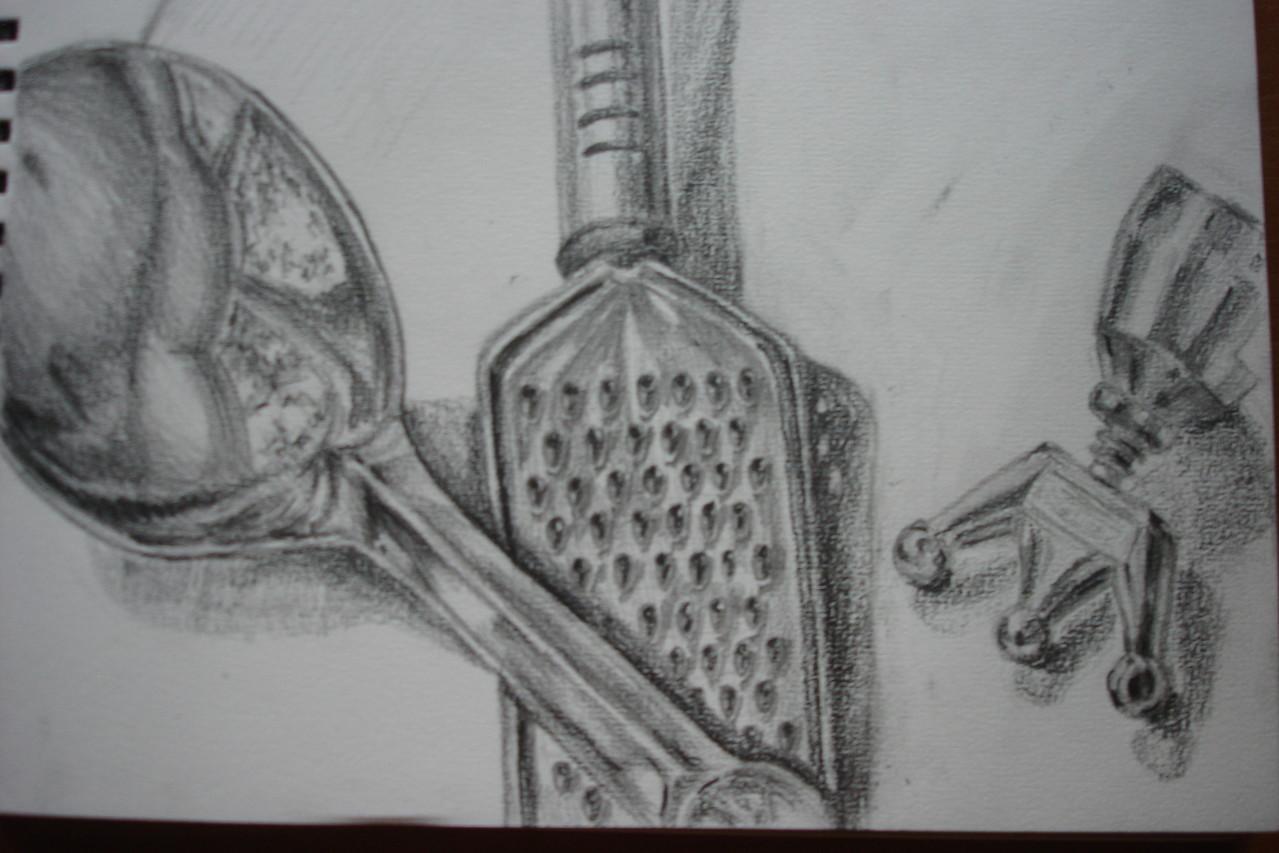 """Металлические предметы"", бумага, карандаш"