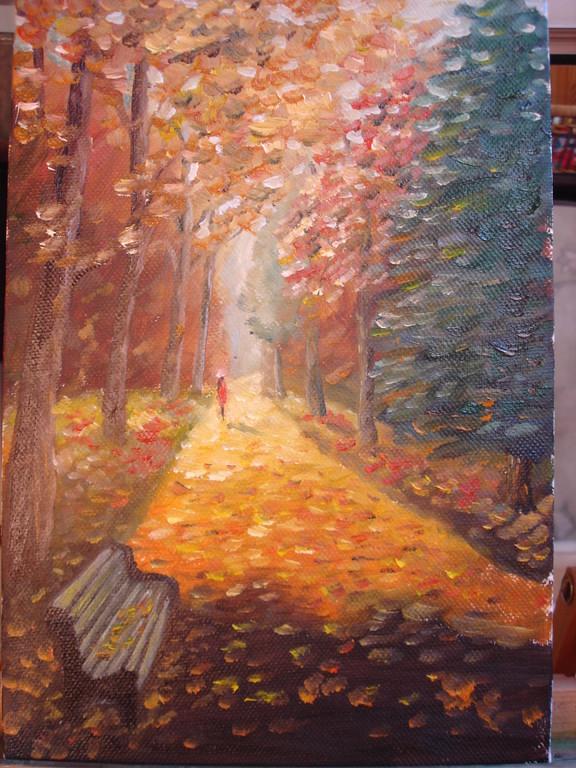 """""""Осень"""",масло, картон, по мастер-классу И.Жданова"""