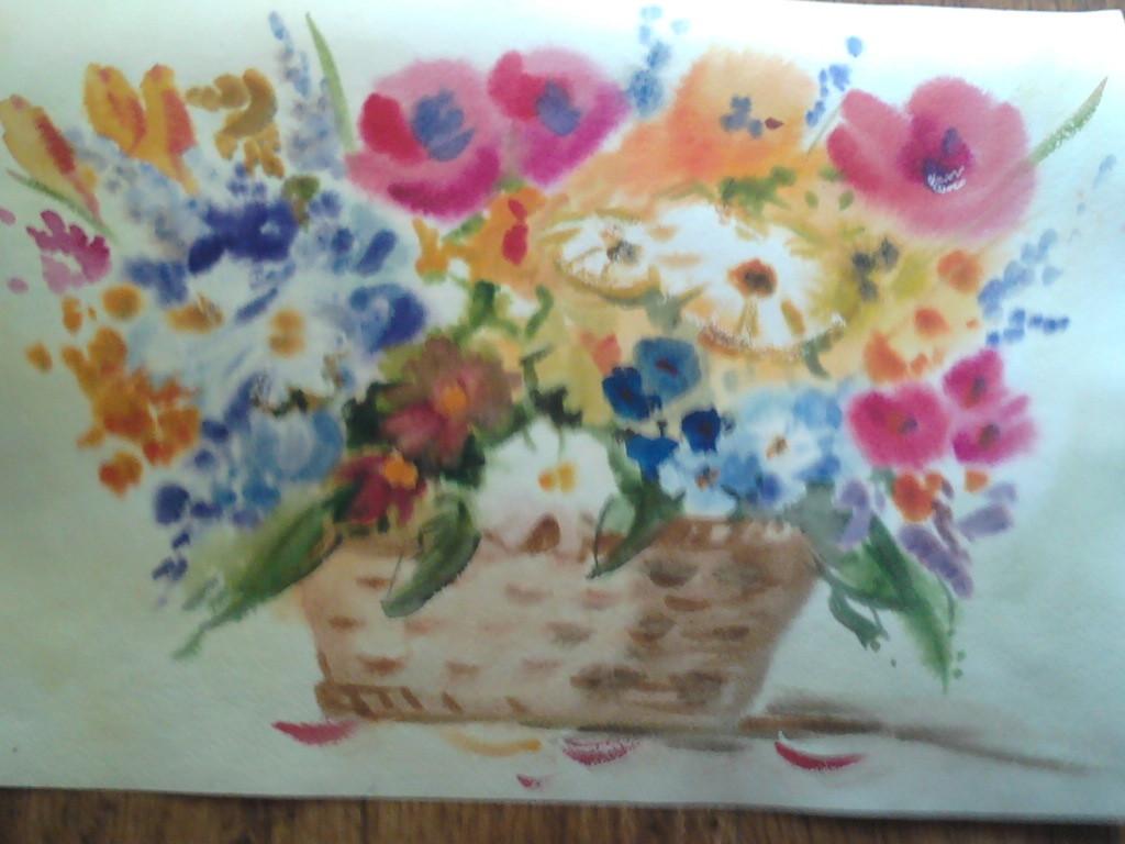 Букет цветов. Бумага, акварель