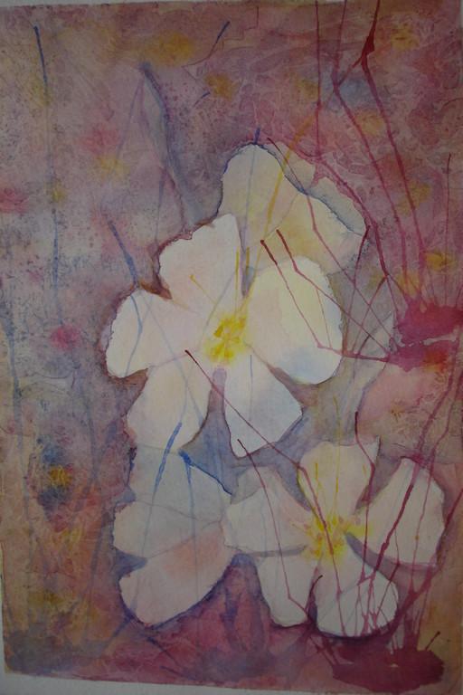 """""""Цветы"""" (попытка2),акварель, бумага (по курсу И.Трушниковой)"""