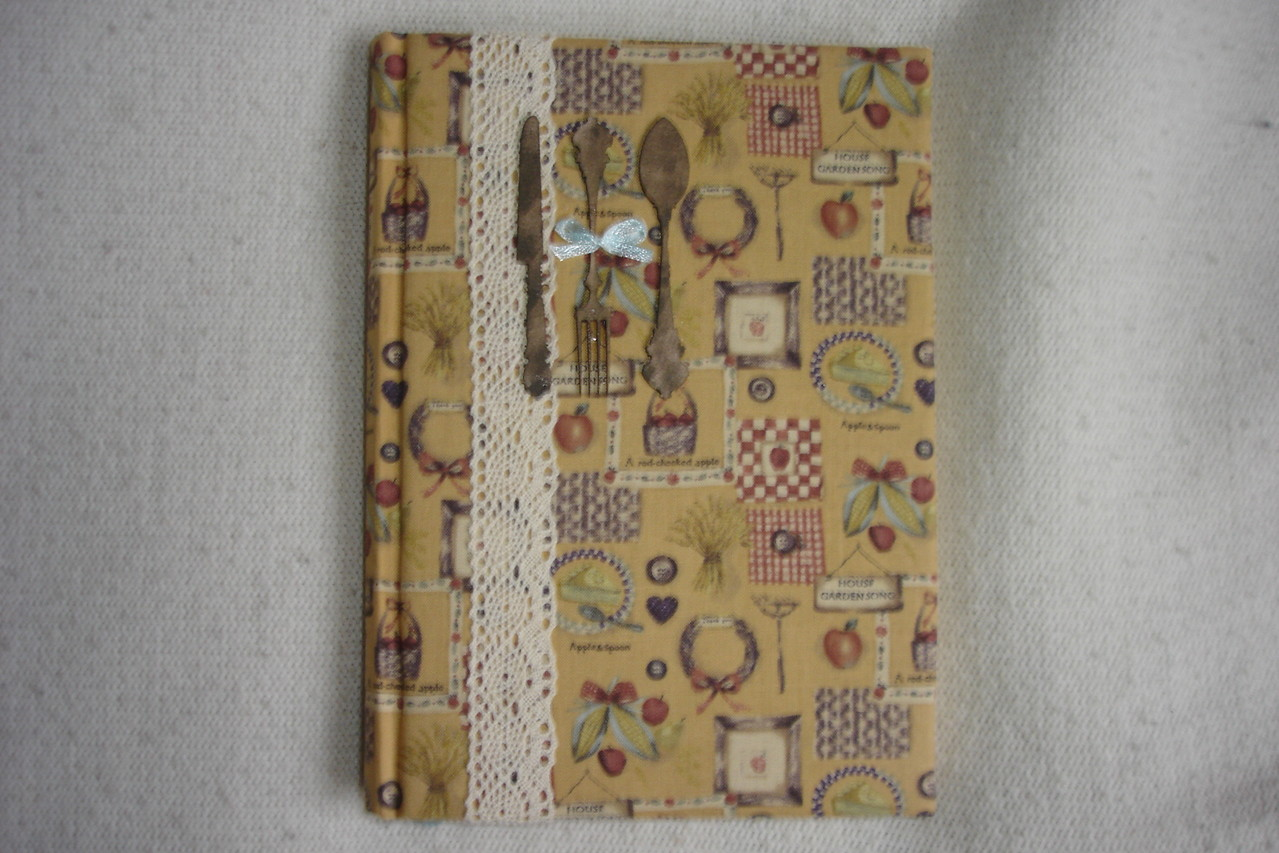 Для записи рецептов. Х/б обложка, кружево, декор (картон),А5