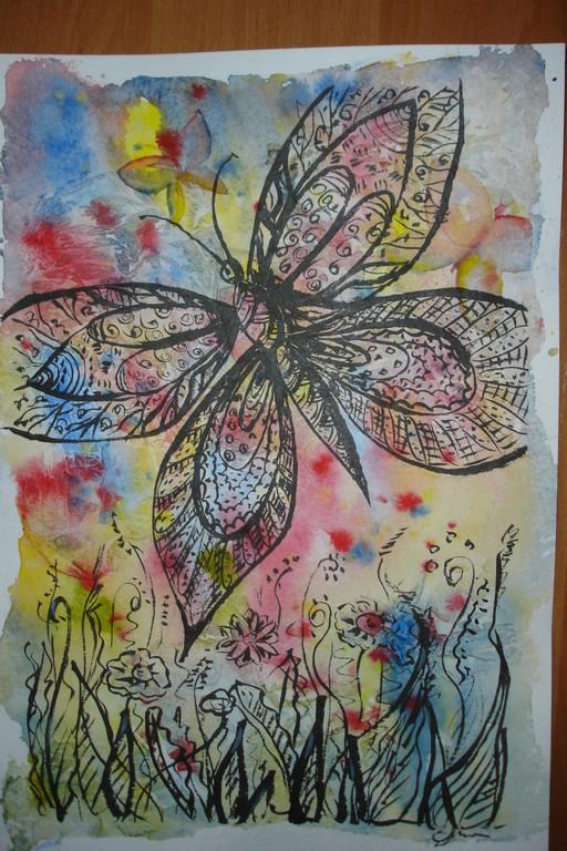 """""""Бабочки"""". Акварель, тушь, бумага (по курсу И.Трушниковой)"""