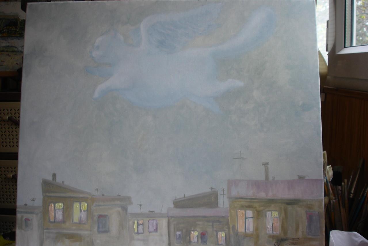 """""""Кот, летящий над ночной Одессой"""".Х/м, по мастер-классу Э.Пороника"""