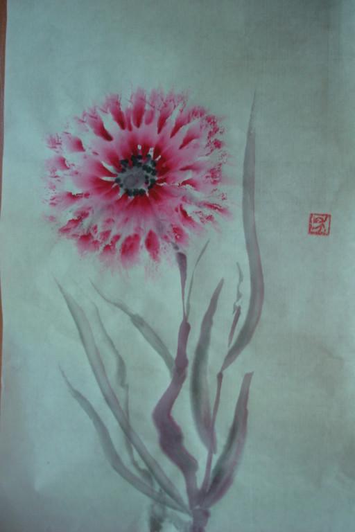 """""""Аленький цветочек"""". Рисовая бумага, тушь."""