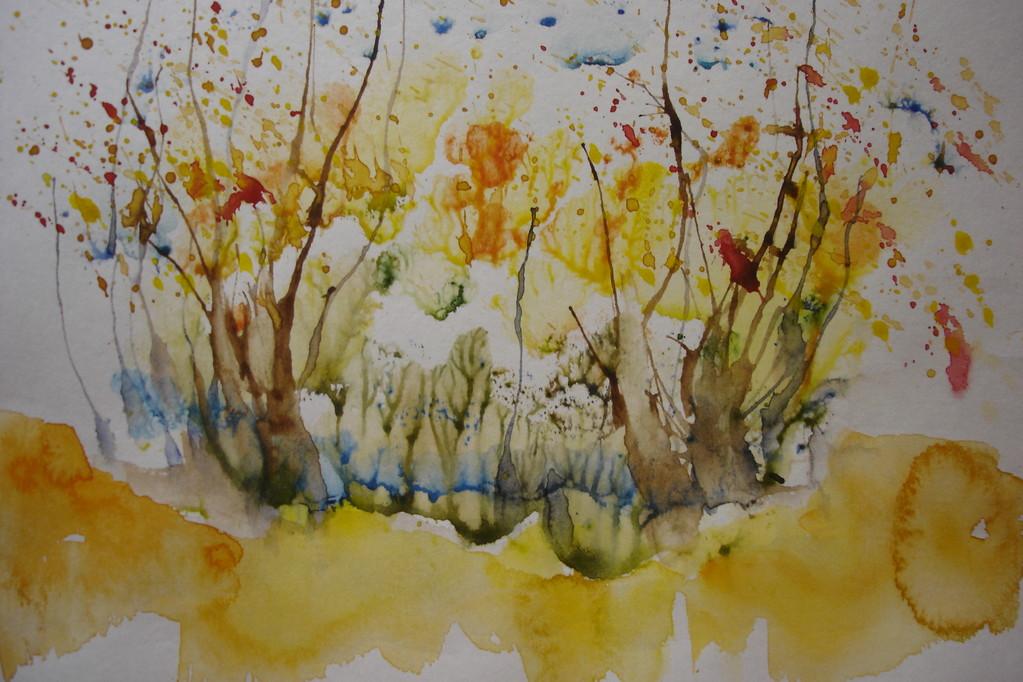 """""""Осень"""".монотипия, акварель, бумага (по курсу И.Трушниковой)"""