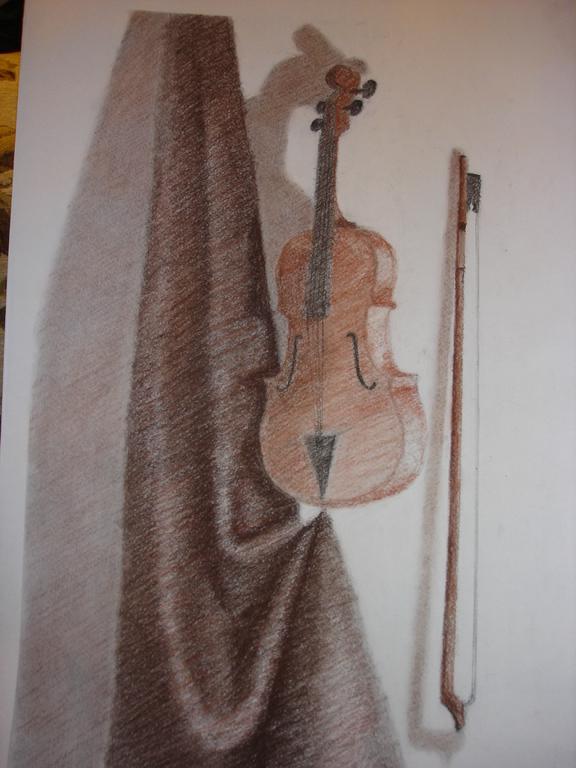 """""""Скрипка"""". Сангина, сепия, уголь, бумага"""