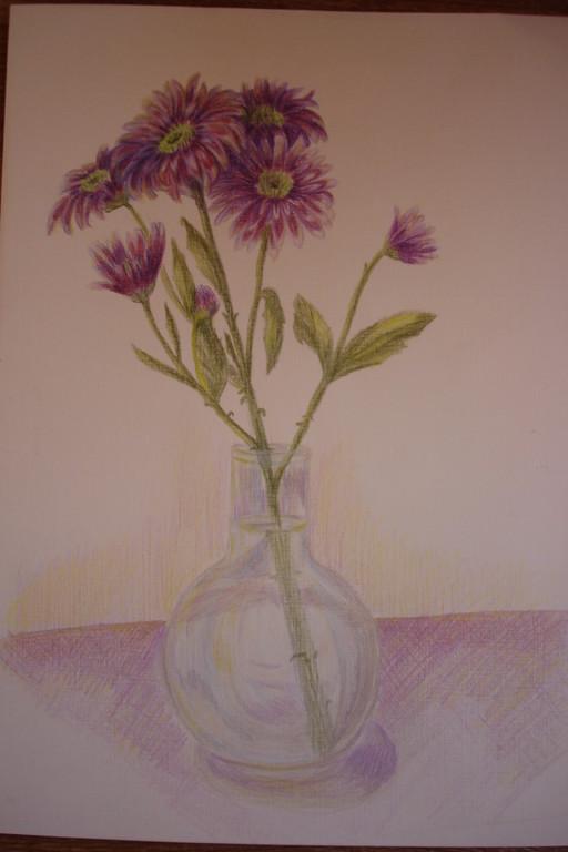 """""""Хризантема"""", бумага, цветные карандаши"""
