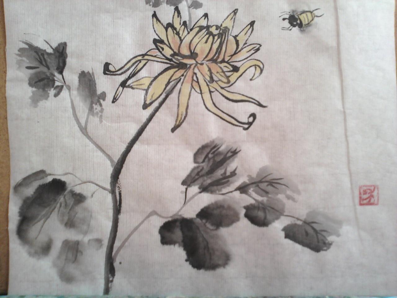 Хризантема. Рисовая бумага, тушь
