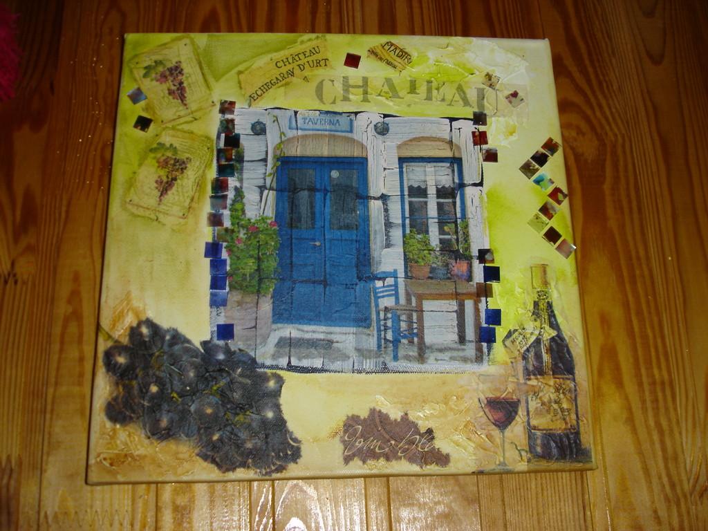 """""""Кафе"""". Декупаж салфеткой, структурная паста, одно- и двухкомпонентные кракелюры, мозаика"""