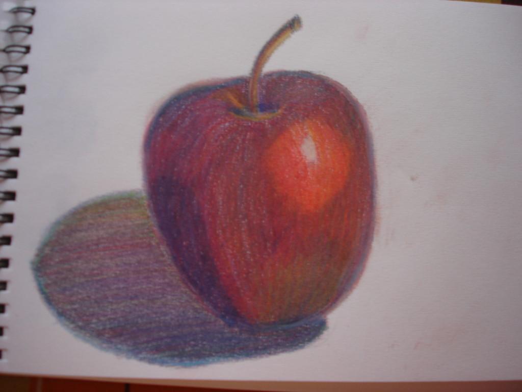 """""""Яблоко"""". Бумага, цветные карандаши. Учебная работа"""