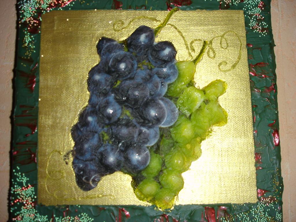 """""""Виноград"""". Холст, акрил различных цветов, мотив """"виноград"""", объемный гель, жемчужина рефлекса"""