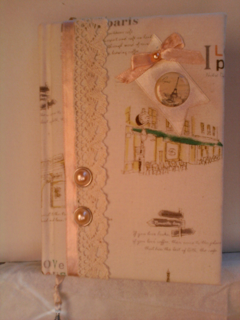 """""""Парижские мечты"""", А6, текстильная обложка, ленты, кружево, братсы, декор"""