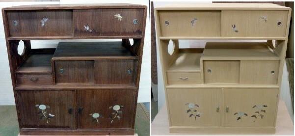 桐飾り棚修理例