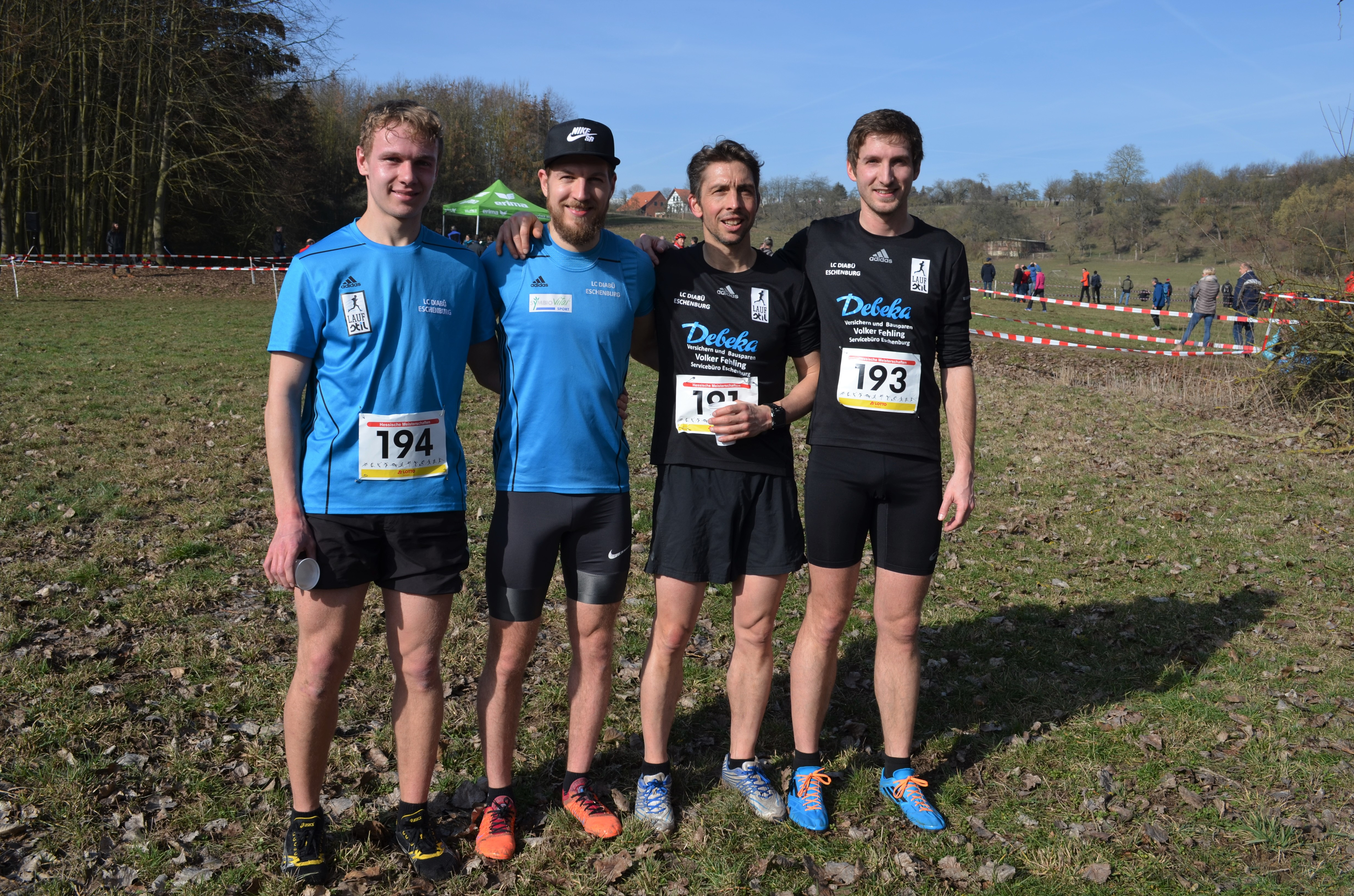 Die Männermannschaft auf der Mittelstrecke: v.l. Samuel Eizenhöfer, Felix Thum, Christoph Bergmann und Max Weiß