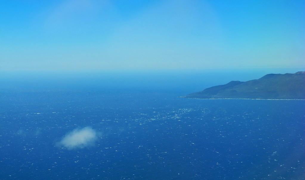 Bei Nordwind Anflug auf La Palma aus südlicher Richtung, an Fuencaliente vorbei