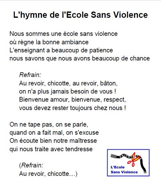 Les élèves de nos écoles de référence chantent l'hymne de L'Ecole Sans Violence