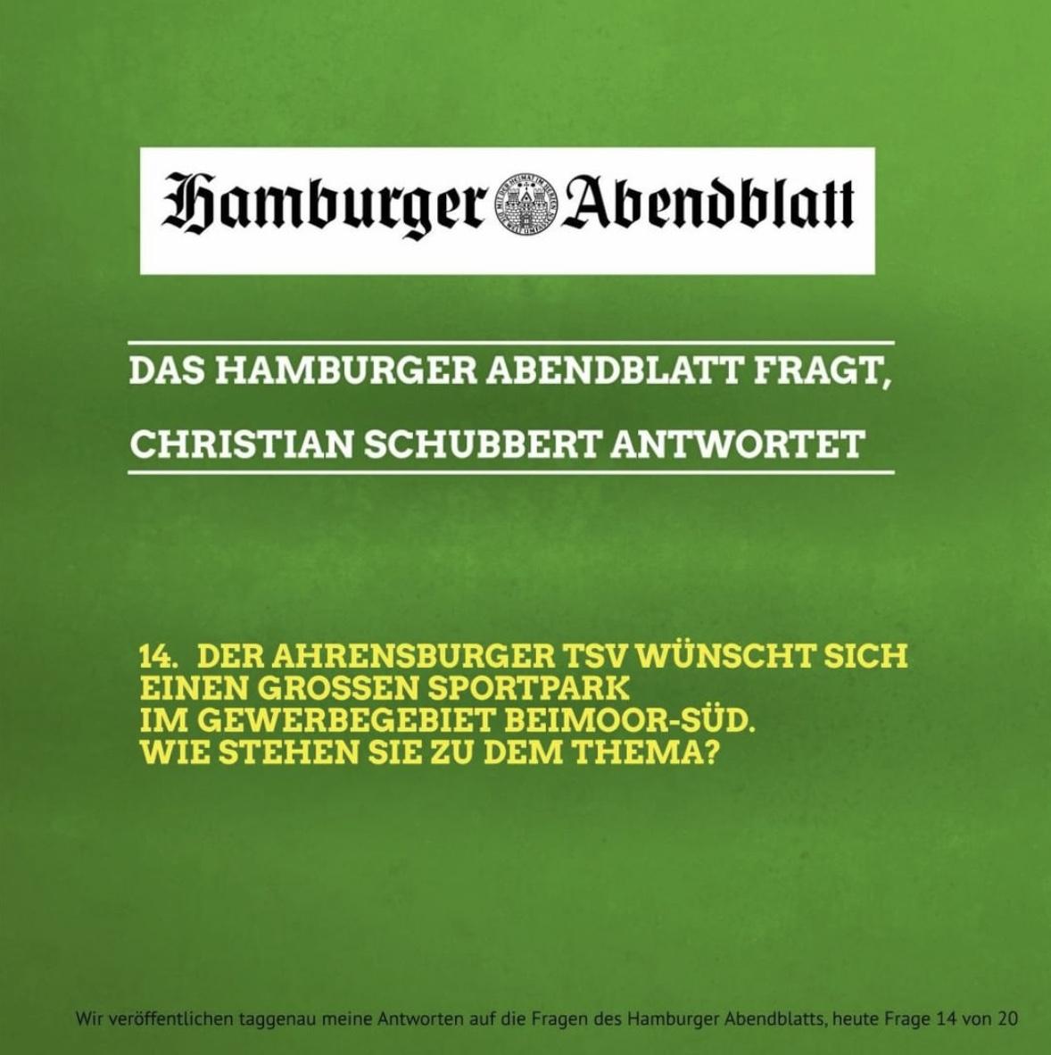 Das Hamburger Abendblatt fragt, Christian Schubbert antwortet: 14. Der Ahrensburger TSV wünscht sich einen großen Sportpark im Gewerbegebiet Beimoor-Süd.