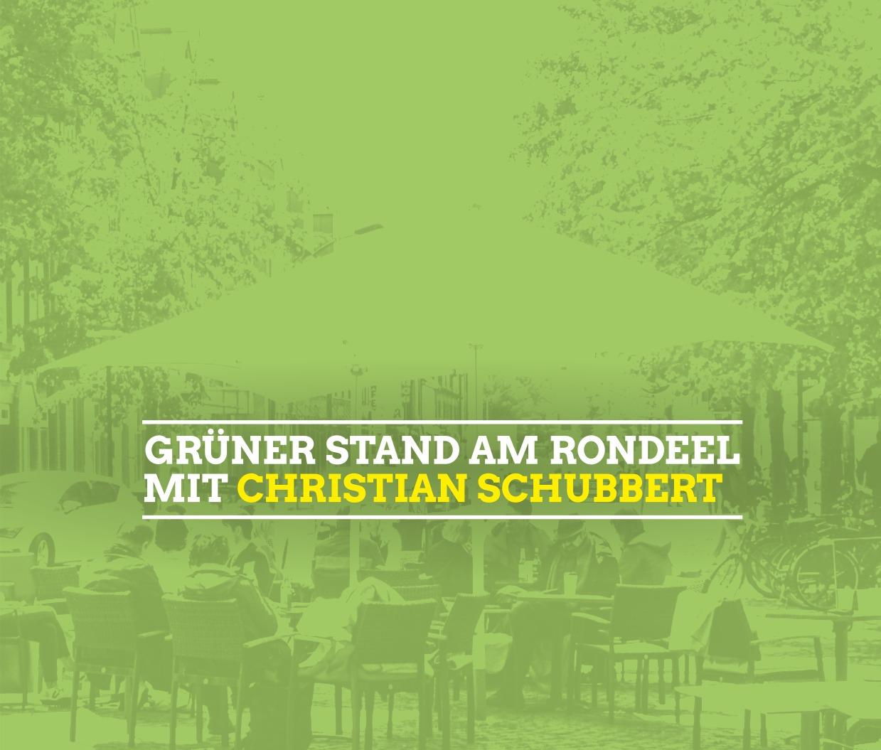 Bürgermeisterkandidat Christian Schubbert beim Stand der Grünen auf dem Rondeel
