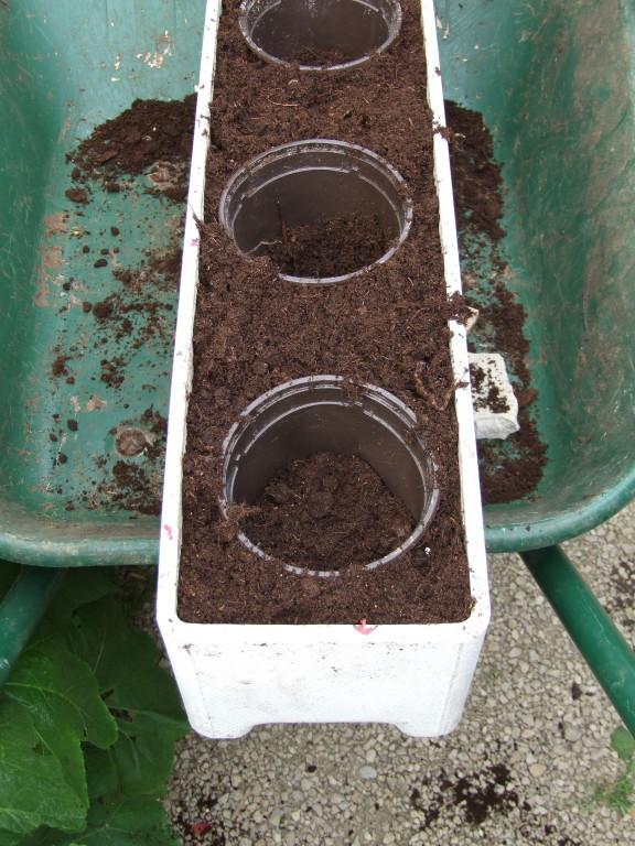 bien remplir la jardinière de terreau