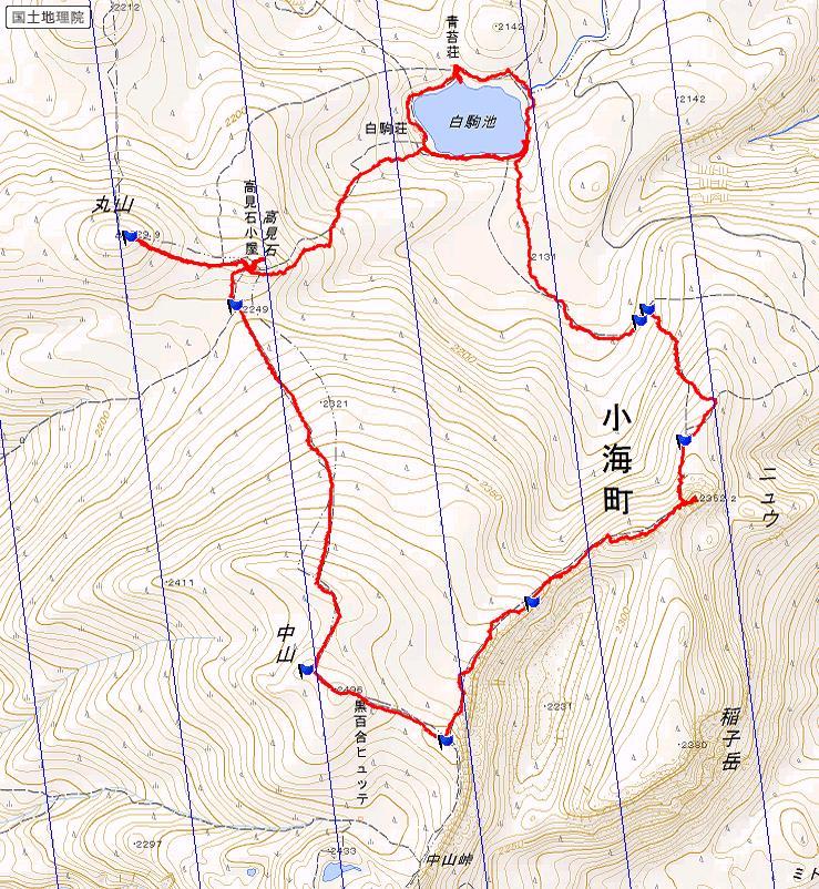 白駒池~ニュウ~中山~高見石~白駒池 ルート図