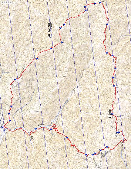 赤坂山~三国山 ルート図