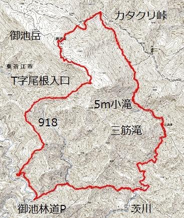 茨川~御池岳~T字尾根 ルート図
