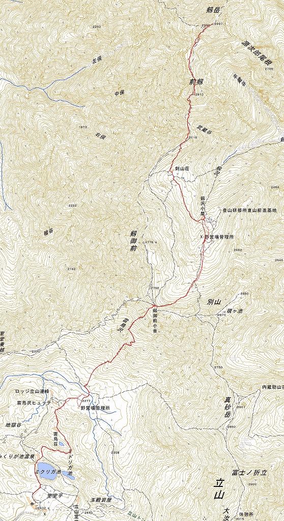剱岳ルート図