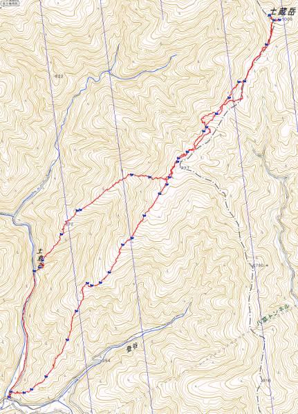 土蔵岳ルート図