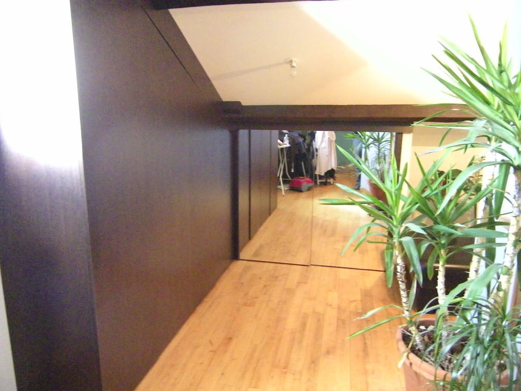 Fabrication sur-mesure d'un placard (wenge) dans des combles + porte (miroir) coulissante