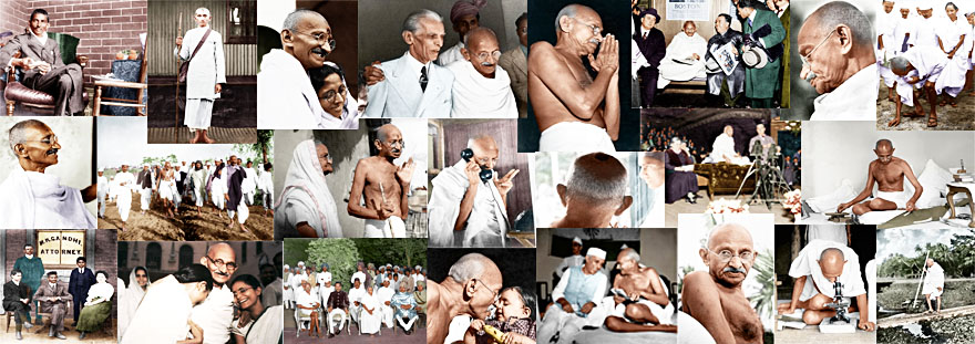 Banner of a collage of Mahatma Gandhi's photographs in colour (Ghandi).