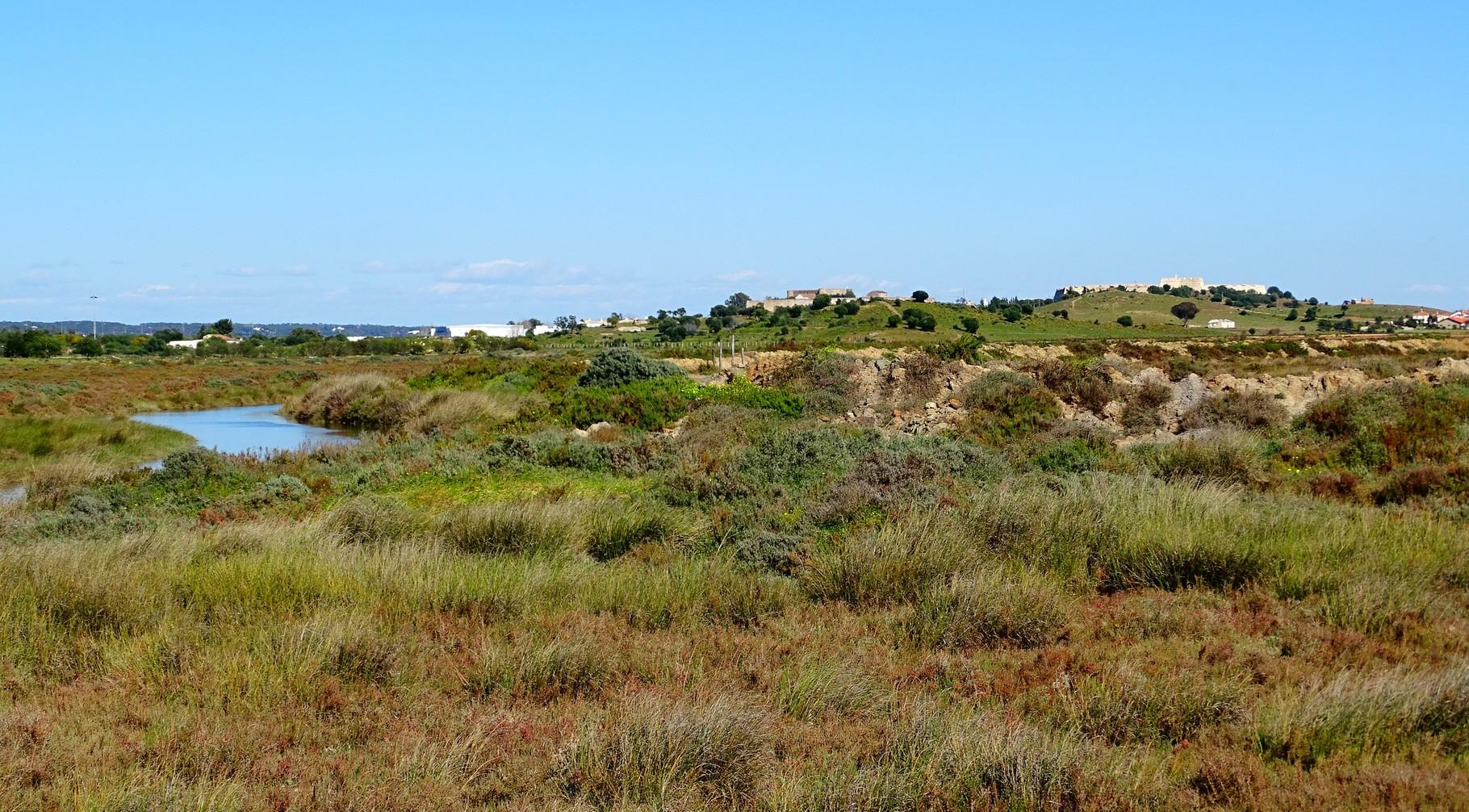 bei den Salzfeldern von Castro Marim ... die beiden Burgen am Horizont