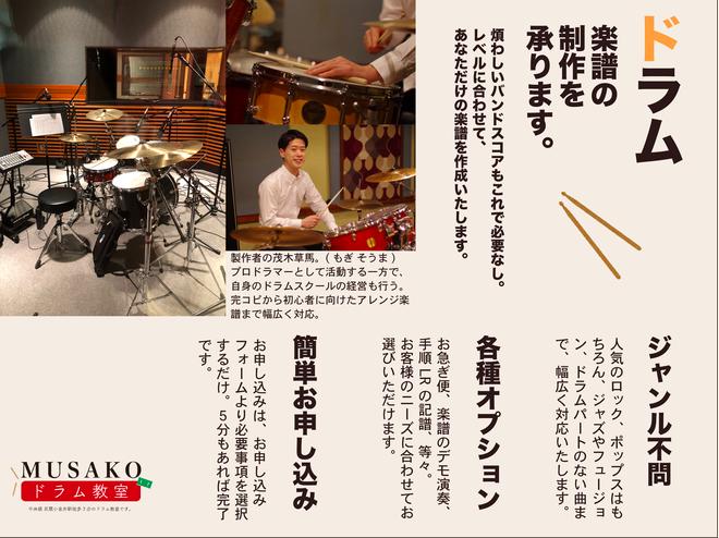 ドラム楽譜作成サービスのご案内♪