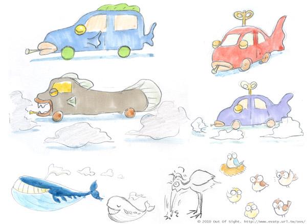 Ballenas, coches, pájaro carpintero...