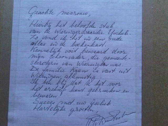 6-3-2012 Brief met uitleg over de herkomst oorkonde.