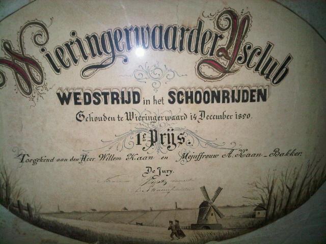 Oorkonde na 122 jaar weer terug bij de ijsclub waar hij op 14 december 1890 werd uitgereikt aan de heer Willem Kaan en Mejuffrouw A. Kaan - Bakker!