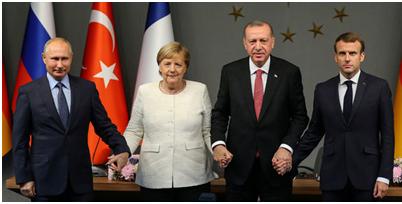 Vertice Istambul 27 ottobre – Putin, Merkel, Erdogan, Macron (quelle REUTERS)